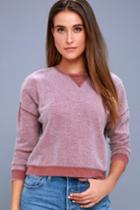 Z Supply | Sweet Embrace Washed Burgundy Cropped Sweatshirt | Lulus
