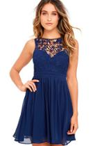 Lulus Jolly Song Navy Blue Lace Skater Dress