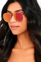 Cool And Reflected Gold And Red Mirrored Aviator Sunglasses | Lulus
