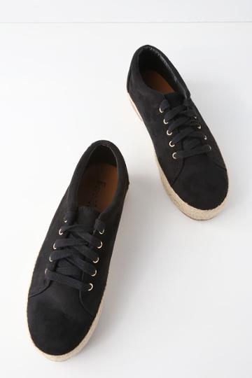 Bonnibel Shannon Black Suede Espadrille Sneakers | Lulus