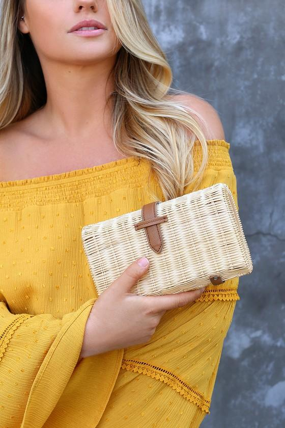 Nob Hill Beige And Brown Woven Basket Clutch | Lulus