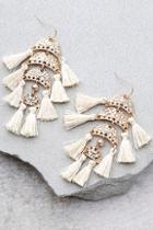 Lulus A Whole New World Gold And Beige Tassel Earrings