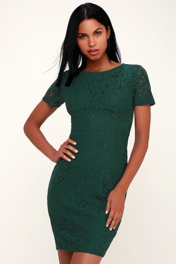 Polished To Perfection Dark Green Lace Midi Dress | Lulus