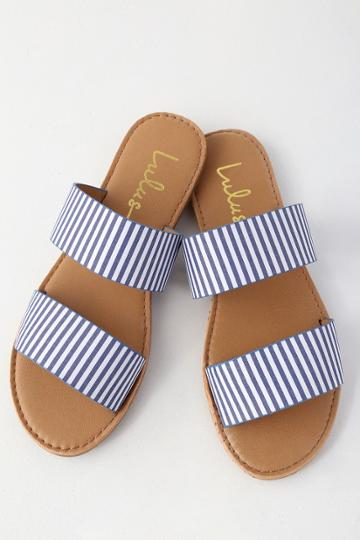 Bonnibel Time To Chill Blue Striped Slide Sandal Heels | Lulus