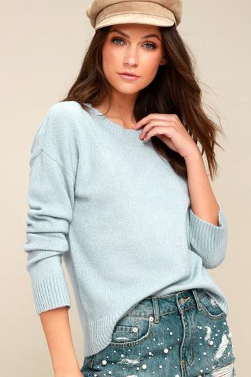Olive + Oak Nanette Light Blue Knit Sweater | Lulus