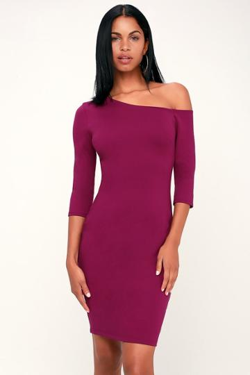 Precious Thing Magenta Asymmetrical Off-the-shoulder Dress | Lulus