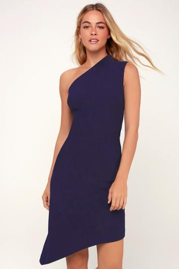 Finders Keepers Goodbye Navy Blue One-shoulder Midi Dress | Lulus