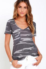 Z Supply At Attention Grey Camo Print Tee
