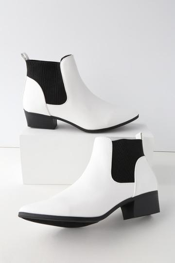 Qupid Claude White Pointed Toe Ankle Booties | Lulus