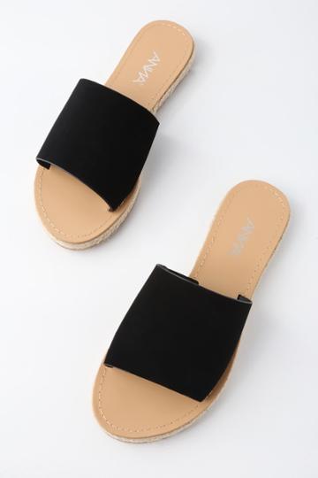 Bella Marie Marnie Black Nubuck Espadrille Slide Sandal Heels | Lulus
