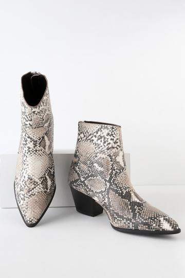 Qupid Amina Beige And Brown Snake Print Mid-calf Booties   Lulus