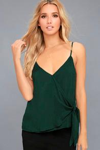 Re:named Take Note Forest Green Wrap Top