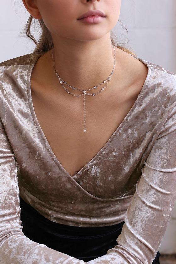 Beatrix Sterling Silver Rhinestone Choker Necklace | Lulus