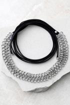 Lulus Affinity Silver And Black Wrap Necklace