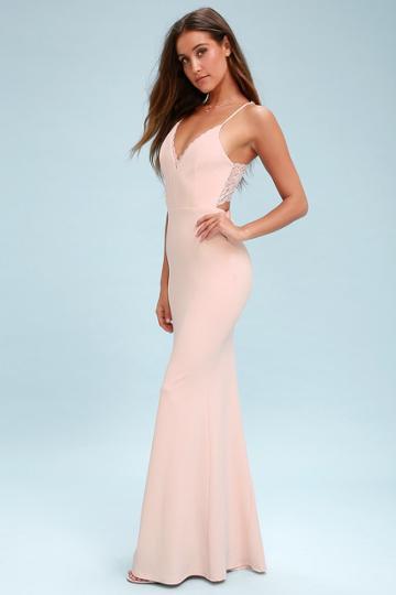 Love Story Blush Backless Lace Maxi Dress   Lulus