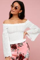 Sivain White Lace Smocked Off-the-shoulder Top | Lulus