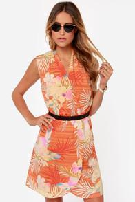I. Madeline Hawaii Me? Red Orange Tropical Print Dress