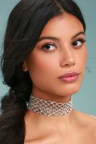 Lulus That's Hot Silver Rhinestone Choker Necklace