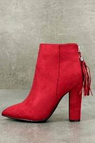 Bamboo Mishka Red Suede Pointed Toe Ankle Booties