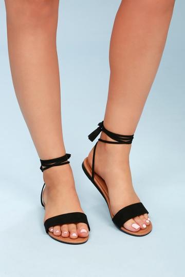 Leyla Black Suede Flat Lace-up Sandal Heels | Lulus