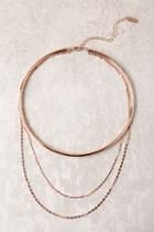 Lulus Main Attraction Rose Gold Layered Collar Necklace