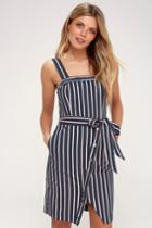 J.o.a. Porto Navy Blue And Pink Striped Dress | Lulus