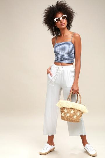 Calistoga White Wide-leg Cropped Pants | Lulus