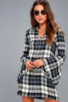Tymber White And Navy Blue Plaid Shirt Dress | Lulus
