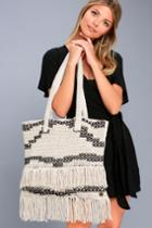 Billabong Beach Comber Beige And Black Woven Tote | Lulus