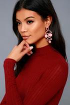 Shashi Cam Rose Pink Drop Earrings