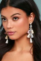 Lulus Crystal Memories Beige Rhinestone Tassel Earrings