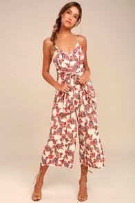 Free People Hot Tropics Cream Print Midi Jumpsuit
