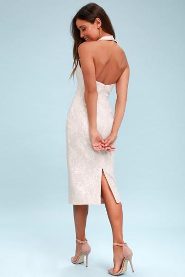 Dress The Population Cassie White Sequin Halter Midi Dress   Lulus