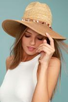 Lulus Shellebration Tan Straw Fedora Hat
