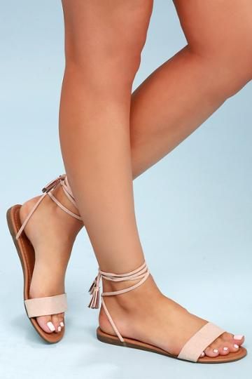Leyla Natural Suede Flat Lace-up Sandal Heels | Lulus