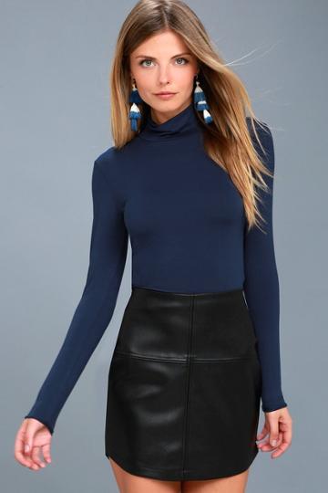 Pop Star Black Vegan Leather Mini Skirt | Lulus