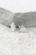 Lulus Cacti Cutie Silver Earrings