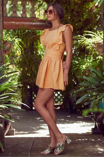 Free People New Erin Golden Yellow Tie-back Skater Dress | Lulus
