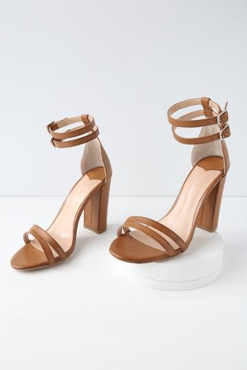 Tony Bianco Kelly Tan Monaco Leather Ankle Strap Heels | Lulus