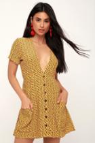 Faithfull The Brand Pilou Yellow Floral Print Mini Dress | Lulus