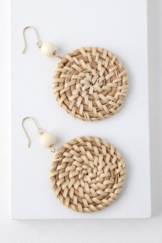 Riverfront Beige Woven Earrings | Lulus