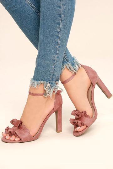 Qupid | Idola Mauve Suede Ankle Strap Heels | Size 10 | Pink | Vegan Friendly | Lulus