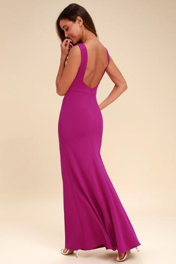 Hollywood Boulevard Magenta Backless Maxi Dress   Lulus
