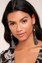 Vanessa Mooney | Faith Grey Tassel Earrings | Lulus
