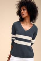 Olive + Oak Emmalee Navy Blue And White Striped Sweater | Lulus
