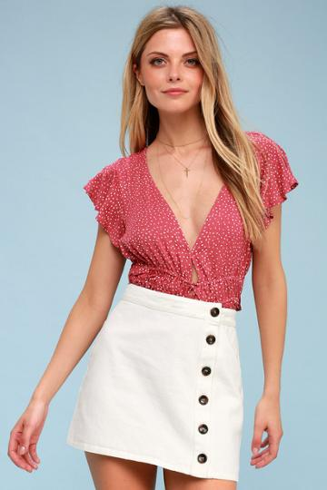 No Hesitation White Button-front Denim Mini Skirt | Lulus