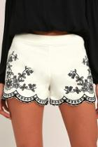 Lulus Lookout Point Ivory Embroidered Shorts