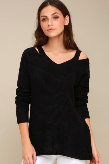 Rd Style Little Of Your Love Black Cutout Knit Sweater | Lulus