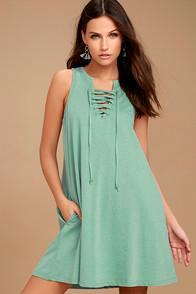 Z Supply All Tied Up Sage Green Lace-up Dress