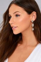 Lulus Invoke Love Gold Rhinestone Earrings